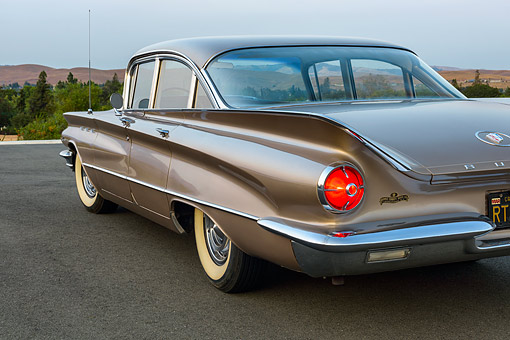 AUT 22 RK3643 01 © Kimball Stock 1960 Buick LeSabre Tahitian Beige 3/4 Rear On Pavement