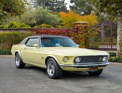 AUT 22 RK3661 01 © Kimball Stock 1969 Ford Mustang 351 Yellow 3/4 Front View On Pavement