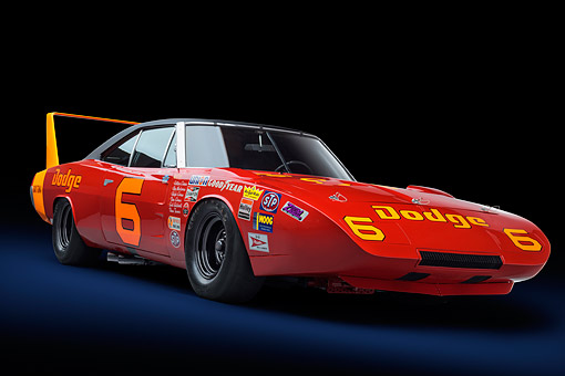 AUT 22 RK3703 01 © Kimball Stock 1969 Dodge Charger Daytona 426ci L Hemi NASCAR Racing 3/4 Front View In Studio