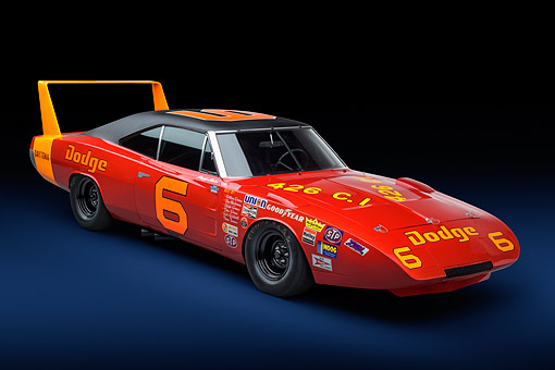AUT 22 RK3704 01 © Kimball Stock 1969 Dodge Charger Daytona 426ci L Hemi NASCAR Racing 3/4 Front View In Studio