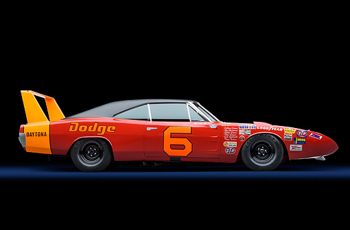 AUT 22 RK3705 01 © Kimball Stock 1969 Dodge Charger Daytona 426ci L Hemi NASCAR Racing Profile View In Studio