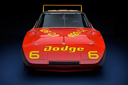 AUT 22 RK3707 01 © Kimball Stock 1969 Dodge Charger Daytona 426ci L Hemi NASCAR Racing Front View In Studio