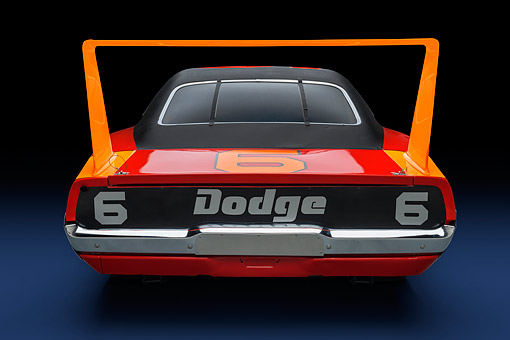 AUT 22 RK3708 01 © Kimball Stock 1969 Dodge Charger Daytona 426ci L Hemi NASCAR Racing Rear View In Studio