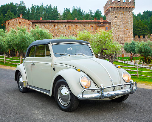 AUT 22 RK3736 01 © Kimball Stock 1962 Volkswagen Beetle Convertible Beige 3/4 Front View By Castle
