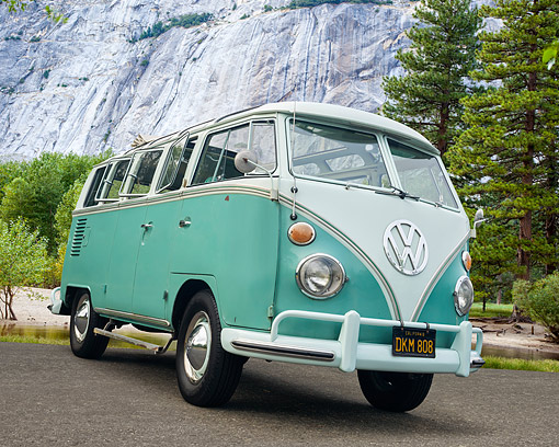 AUT 22 RK3742 01 © Kimball Stock 1964 Volkswagen 21 Window Bus Turquoise 3/4 Front View In Mountain Forest