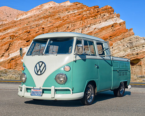 AUT 22 RK3756 01 © Kimball Stock 1967 Volkswagen Bus Double Cab Pickup Green 3/4 Front View By Desert Rocks