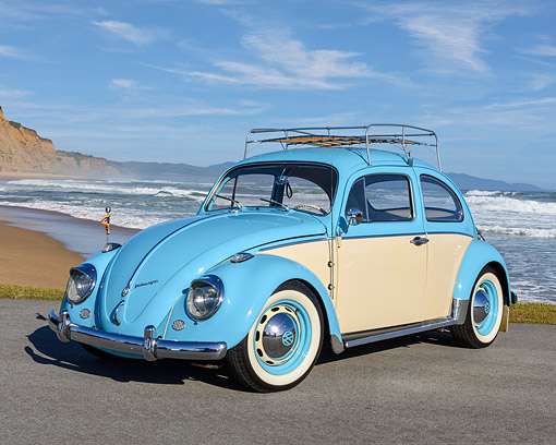 AUT 22 RK3762 01 © Kimball Stock 1961 Volkswagen Beetle Blue And Cream With Rack 3/4 Front View By Ocean