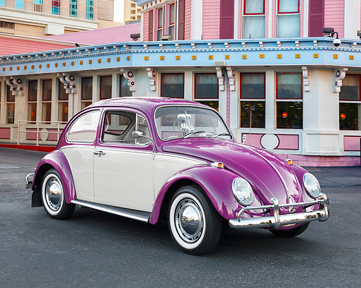 AUT 22 RK3765 01 © Kimball Stock 1965 Volkwagen Beetle Purple And Cream 3/4 Front View By Building