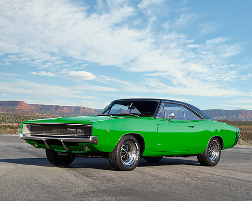 AUT 22 RK3778 01 © Kimball Stock 1968 Dodge Charger R/T Green 3/4 Front View On Pavement In Desert
