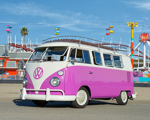 AUT 22 RK3780 01 © Kimball Stock 1966 Volkswagen Kombi Bus Pink 3/4 Front View By Carnival