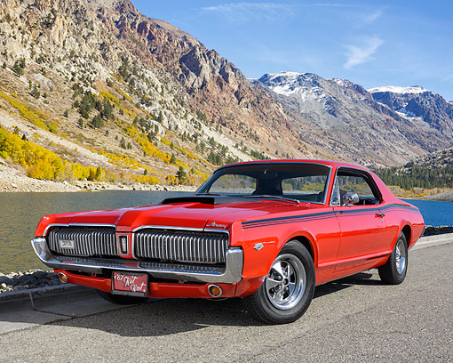 AUT 22 RK3787 01 © Kimball Stock 1967 Mercury Cougar Red 289 V8 3/4 Front View By Mountain Lake