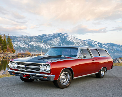 AUT 22 RK3808 01 © Kimball Stock 1965 Chevrolet Chevelle 300 2-Door Wagon Red 3/4 Front View By Mountain Lake