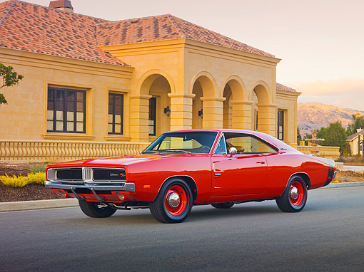 AUT 22 RK3811 01 © Kimball Stock 1969 Dodge Hemi Charger R/T Red 3/4 Front View On Pavement By Building