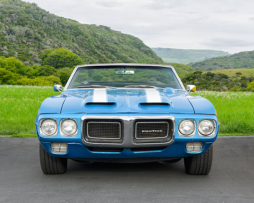 AUT 22 RK3813 01 © Kimball Stock 1969 Pontiac Firebird Front View By Grassy Hills