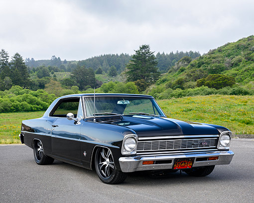 AUT 22 RK3816 01 © Kimball Stock 1966 Chevrolet Nova Black 3/4 Front View By Grass And Trees