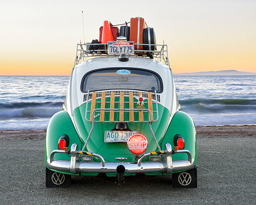 AUT 22 RK3825 01 © Kimball Stock 1963 Volkswagon Beetle Taxi Green And White Rear View By Ocean
