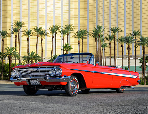 AUT 22 RK3836 01 © Kimball Stock 1961 Chevrolet Impala Convertible Red 3/4 Front View By Building