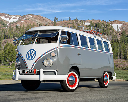 AUT 22 RK3837 01 © Kimball Stock 1967 Volkswagen Bus Gray 3/4 Front View By Mountains