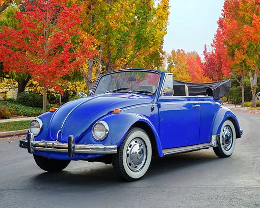 AUT 22 RK3847 01 © Kimball Stock 1968 Volkswagen Beetle Convertible Blue 3/4 Front View On Pavement By Autumn Trees
