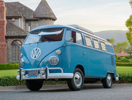 AUT 22 RK3871 01 © Kimball Stock 1966 Volkswagen Bus Camper Blue 3/4 Front View By House