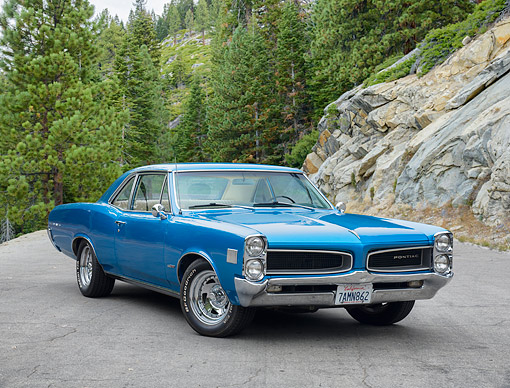 AUT 22 RK3878 01 © Kimball Stock 1966 Pontiac Lemans 326 Blue 3/4 Front View By Trees