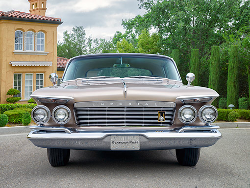 AUT 22 RK3879 01 © Kimball Stock 1961 Imperial LeBaron Beige Front View By Mansion