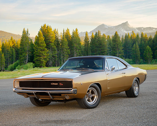 AUT 22 RK3883 01 © Kimball Stock 1968 Dodge Charger R/T 440 Gold 3/4 Front View On Pavement By Forest And Mountains