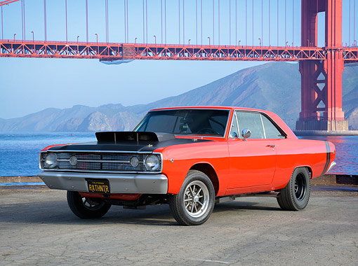 AUT 22 RK3886 01 © Kimball Stock 1968 Dodge Dart 326 Hemi Orange And Black 3/4 Front View By Golden Gate Bridge