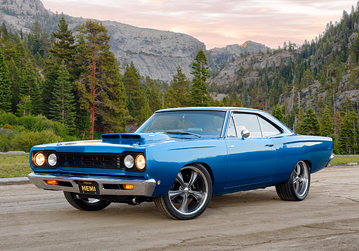 AUT 22 RK3895 01 © Kimball Stock 1968 Plymouth Road Runner Hemi Blue 3/4 Front View In Yosemite