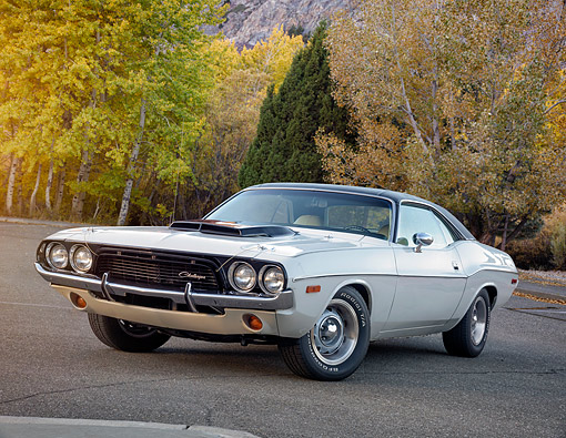 AUT 22 RK3908 01 © Kimball Stock 1972 Dodge Challenger 440 White And Black 3/4 Front View On Pavement By Autumn Trees