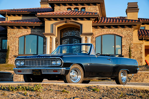 AUT 22 RK3909 01 © Kimball Stock 1964 Chevrolet Chevelle Convertible Dark Blue 3/4 Front View By Mansion