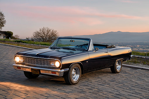 AUT 22 RK3911 01 © Kimball Stock 1964 Chevrolet Chevelle Convertible Dark Blue 3/4 Front View At Sunset