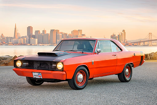 AUT 22 RK3913 01 © Kimball Stock 1967 Dodge Dart GT 440 4 Barrell Orange 3/4 Front View By City