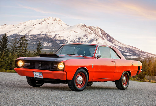 AUT 22 RK3915 01 © Kimball Stock 1967 Dodge Dart GT 440 4 Barrell Orange 3/4 Front View By Snowy Mountains