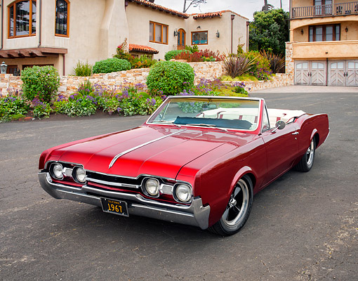 AUT 22 RK3916 01 © Kimball Stock 1967 Oldsmobile Cutlass Supreme Convertible Red 3/4 Front View By House