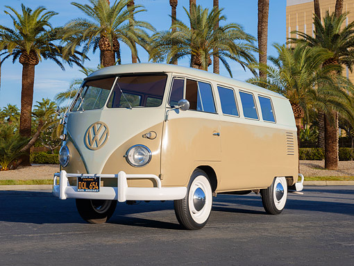 AUT 22 RK3920 01 © Kimball Stock 1961 Volkswagen Standard Micro Bus Tan 3/4 Front View By Palm Trees