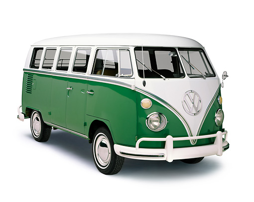 AUT 22 RK0025 06 © Kimball Stock 1965 Volkswagen Bus Green And White 3/4 Front View On White Seamless Studio