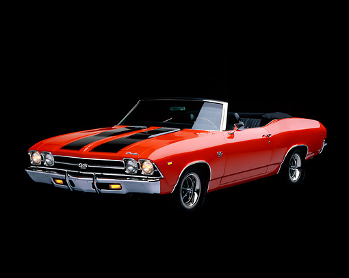 AUT 22 RK0026 02 © Kimball Stock 1969 Chevrolet Chevelle SS Convertible Hugger Orange And Black 3/4 Front View Studio