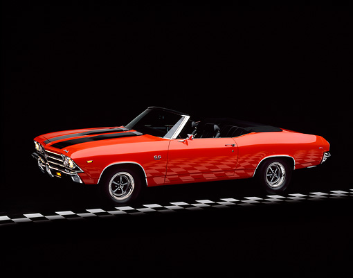 AUT 22 RK0027 06 © Kimball Stock 1969 Chevrolet Chevelle SS Convertible Hugger Orange And Black 3/4 Side On Checkerboard Studio