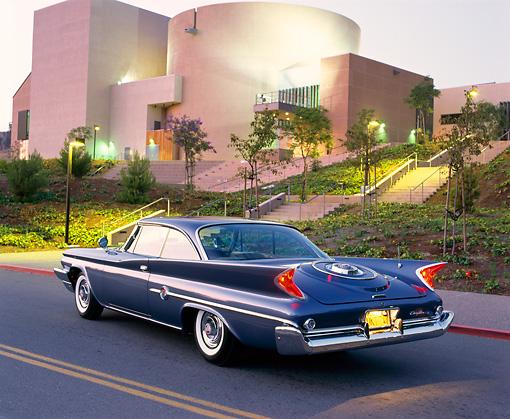 AUT 22 RK0044 03 © Kimball Stock 1960 Chrysler 300F Sport Coupe 3/4 Rear On Road By Building