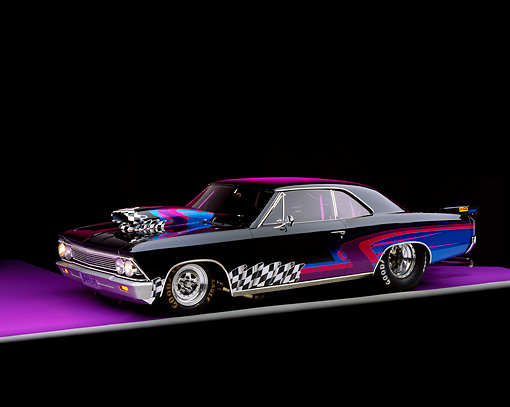 AUT 22 RK0071 05 © Kimball Stock 1966 Chevy Chevelle 3/4 Side View On Purple Floor Studio