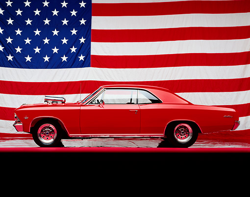 AUT 22 RK0122 02 © Kimball Stock 1966 Chevrolet Malibu Red Profile View American Flag