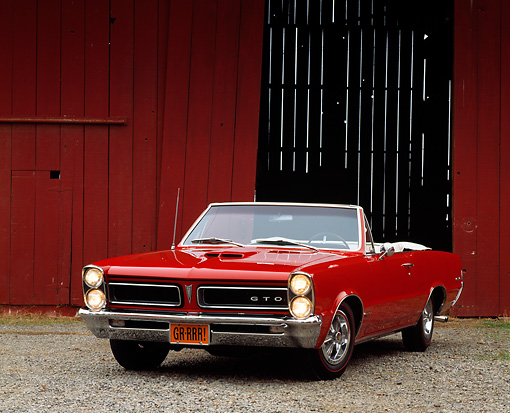 AUT 22 RK0153 07 © Kimball Stock 1965 Pontiac GTO Convertible Red 3/4 Front View On Dirt