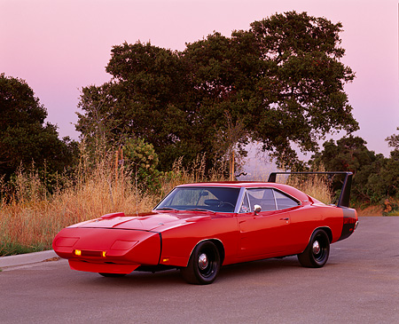 AUT 22 RK0161 12 © Kimball Stock 1969 1/2 Dodge Charger Daytona WingThing 3/4 Front On Road Trees Background