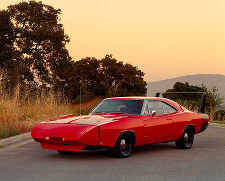 AUT 22 RK0161 19 © Kimball Stock 1969 1/2 Dodge Charger Daytona WingThing 3/4 Front On Road Trees Background