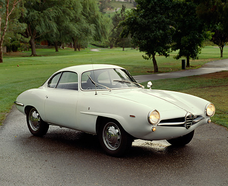 AUT 22 RK0163 06 © Kimball Stock 1966 Alfa Romeo Sprint Speciale 3/4 Front View On Pavement By Trees