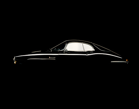 AUT 22 RK0168 13 © Kimball Stock 1965 Alfa Romeo Giulietta SS Black Profile With Reflection Studio