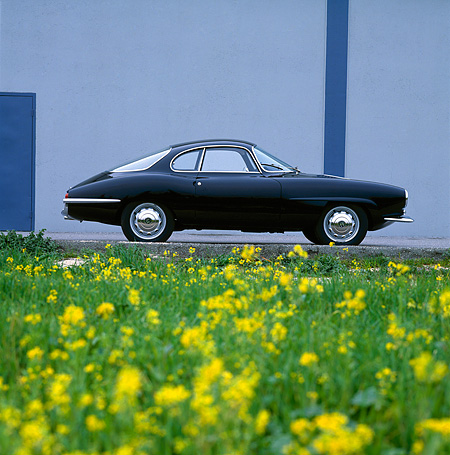 AUT 22 RK0170 06 © Kimball Stock 1965 Alfa Romeo Giulietta SS, profile on pavement with building in background and field of flowers in foreground