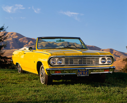 AUT 22 RK0238 03 © Kimball Stock 1964 Chevrolet Chevelle Malibu Convertible Yellow Low 3/4 Front View On Grass