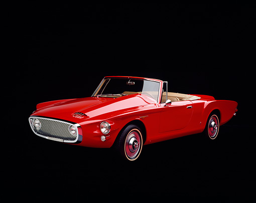 AUT 22 RK0248 04 © Kimball Stock 1962 Plymouth Ghia Valiant Convertible Red 3/4 Front View Studio